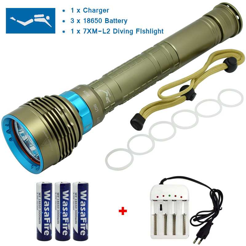 15000 Lumen LED Dive Flashlight Scuba Flash Light Diving Torch XM-L2 U2 Led Waterproof Lamp Lantern With 18650 Battery + Charger led diving flashlight 20000 lumen xm l2 u2 lamp scuba light underwater 100m dive torch with 18650 battery charger for hunting