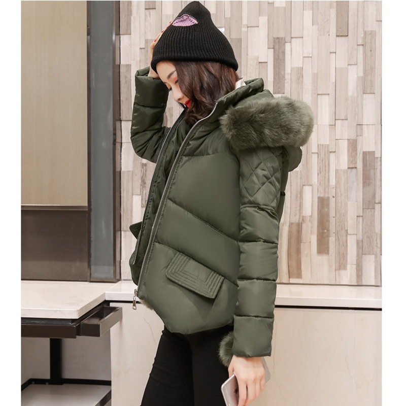 2018 NEW HOT SALE FASHION WOMEN WINTER JACKER SHORT LARGE FUR COLLOR THICKEN WARM FEMALE PARKAS COTTON WADDED COAT ZL467