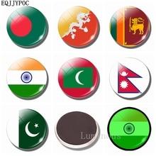 30 MM National Flag Luminous Fridge Magnets Glass Dome South Asia: Bangladesh Bhutan India The Maldives Nepal Pakistan Sri Lanka цена