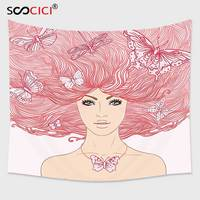 Cutom Tapestry Wall Hanging,Pink Decor Sketchy Hand Drawn Girl with Butterflies in Her Long Pink Hair Illustration Coral