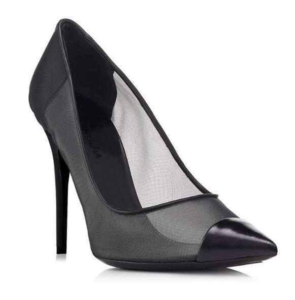 все цены на Woman shallow splicing mesh thin high heel pumps Ladies sexy black net pointed toe super high heels Dress shoes Fashion sandals