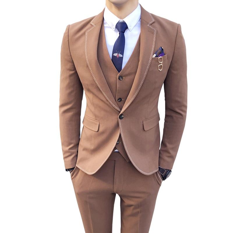 Anzüge Aktiv 2018 Zickzackstich 3 Stück Anzug Brown Dark Grey Feste Farbe One Button Vestito Uomo Rauchen Hochzeit Prom Anzug Kostüm Homme