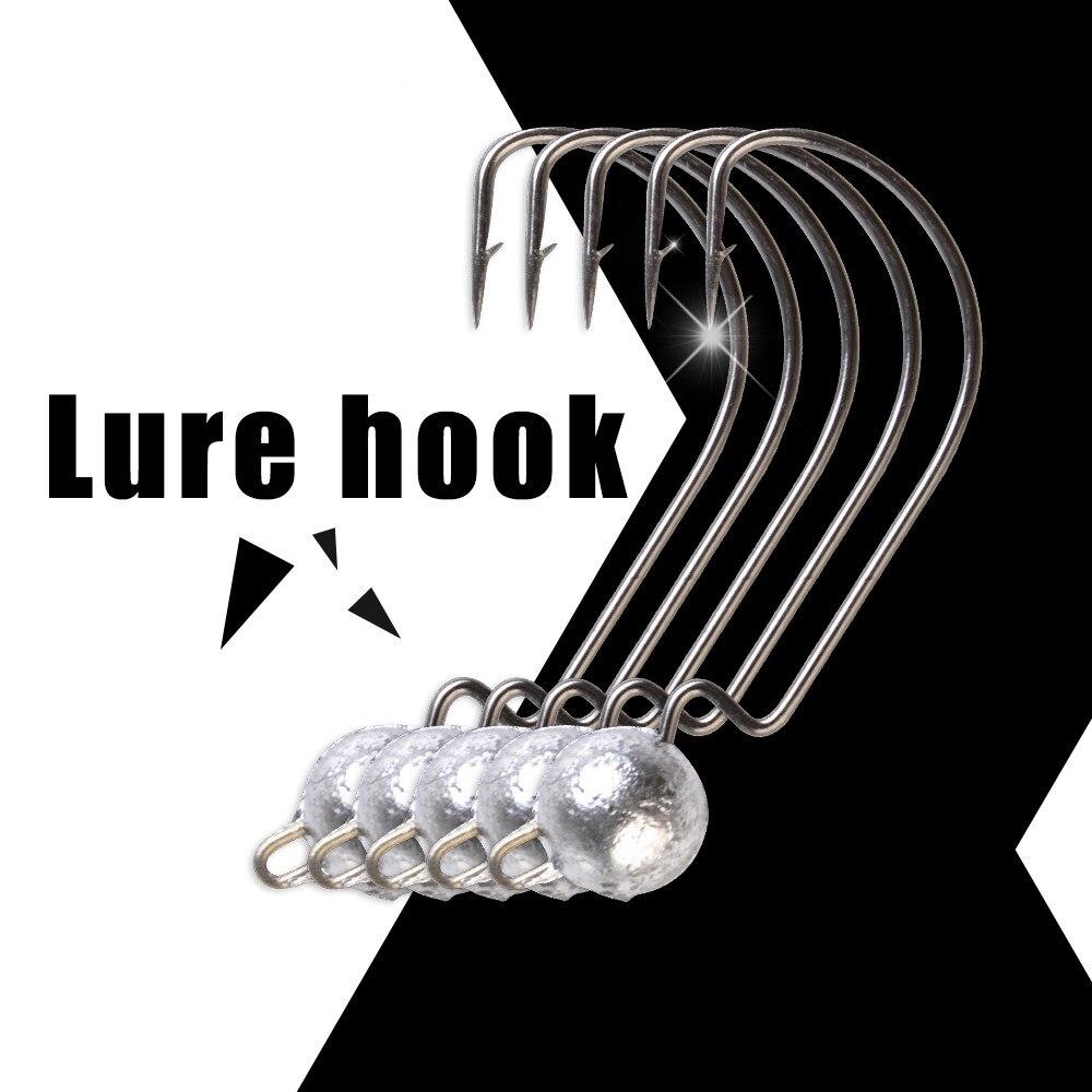 1pack Lead Jig Head 3.5g/5g/7g/10g Barbed Hook 1/0# 2/0# 3/0# Fishing Hooks Soft Lure Jigging Worm Sharp HookBass Fishing Lure