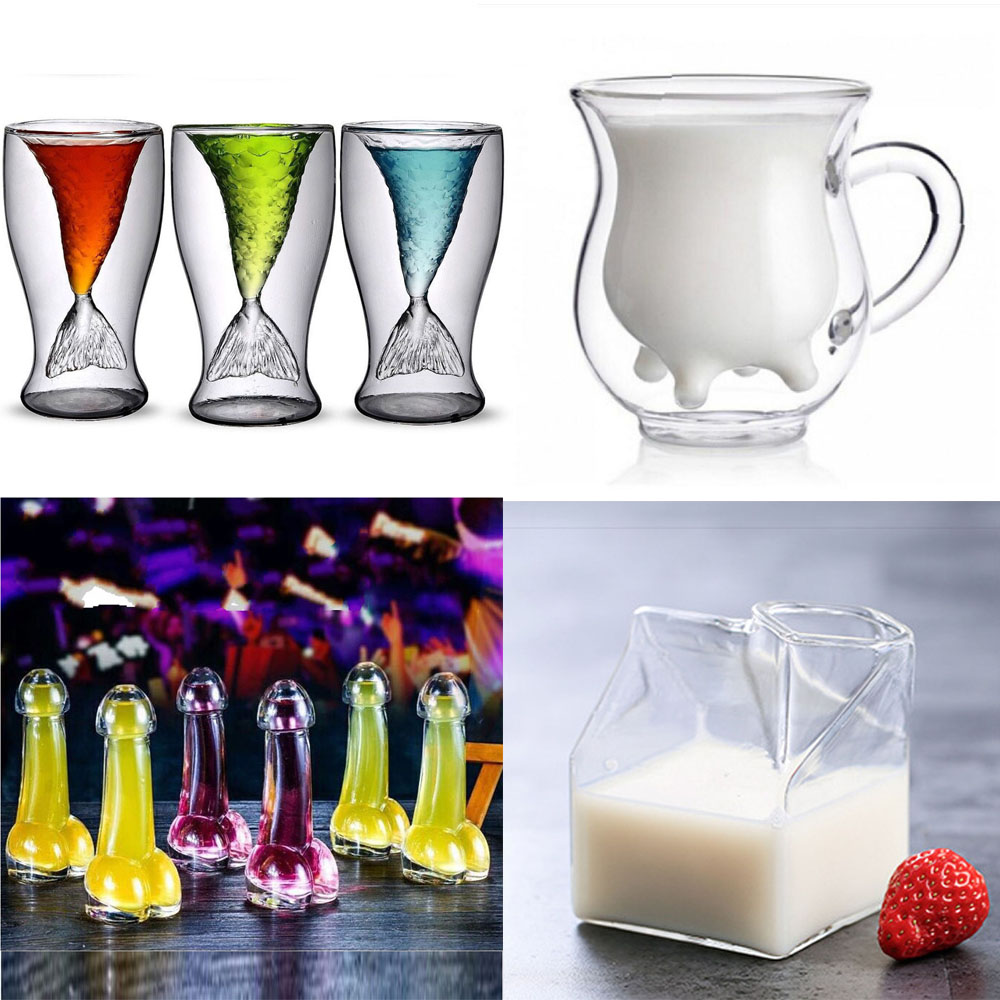 Small Mouth Shot Funny Penis Cocktails Glass Cup Double Walled Mermaid Tail Wine Cow Milk Cup Mug Whisky Coffee Tea Drinkware