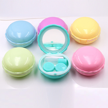 Macaroon Mirrored Contact Lens Case Lot Eye Lens Case Contact Lens Travel Case Plastic Contact Lens Box Holder luxury roundness contact lens case color water eye lens box popular travel lens case contact with mirror