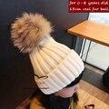 15 colores Del Bebé del Invierno hicieron punto el sombrero con fur poms poms Unisex tejer gorros para niños flexibles de nieve ocasionales para las muchachas del muchacho
