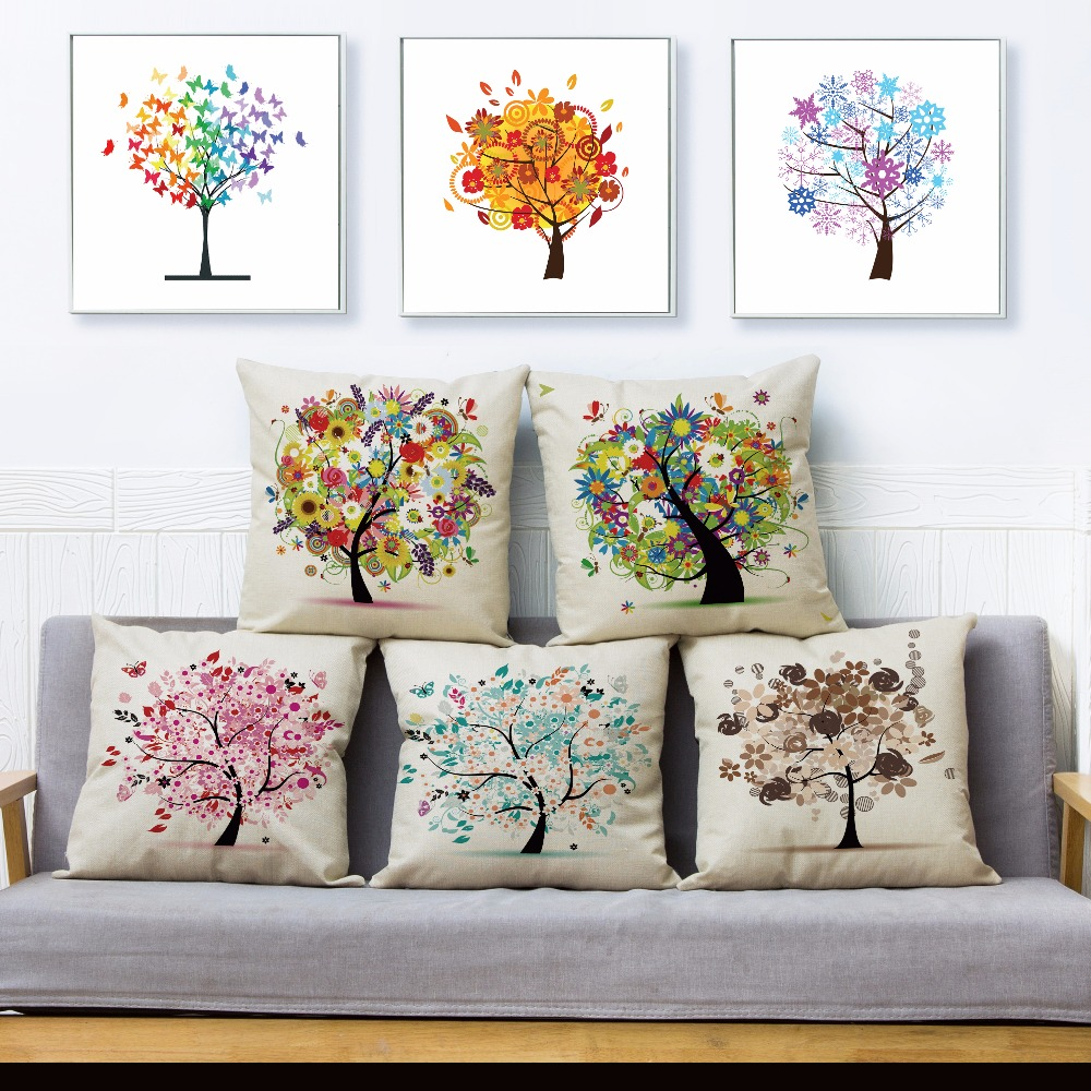 Colorful Life Tree Print Throw Pillow Cover 45*45cm Square Cushion Covers Linen Pillows Cases Car Sofa Home Decor Pillow Case