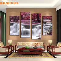 Unframed 4 Panel Mangrove Waterfall Landscape Modern Print On Canvas Painting Home Wall Decor For Living