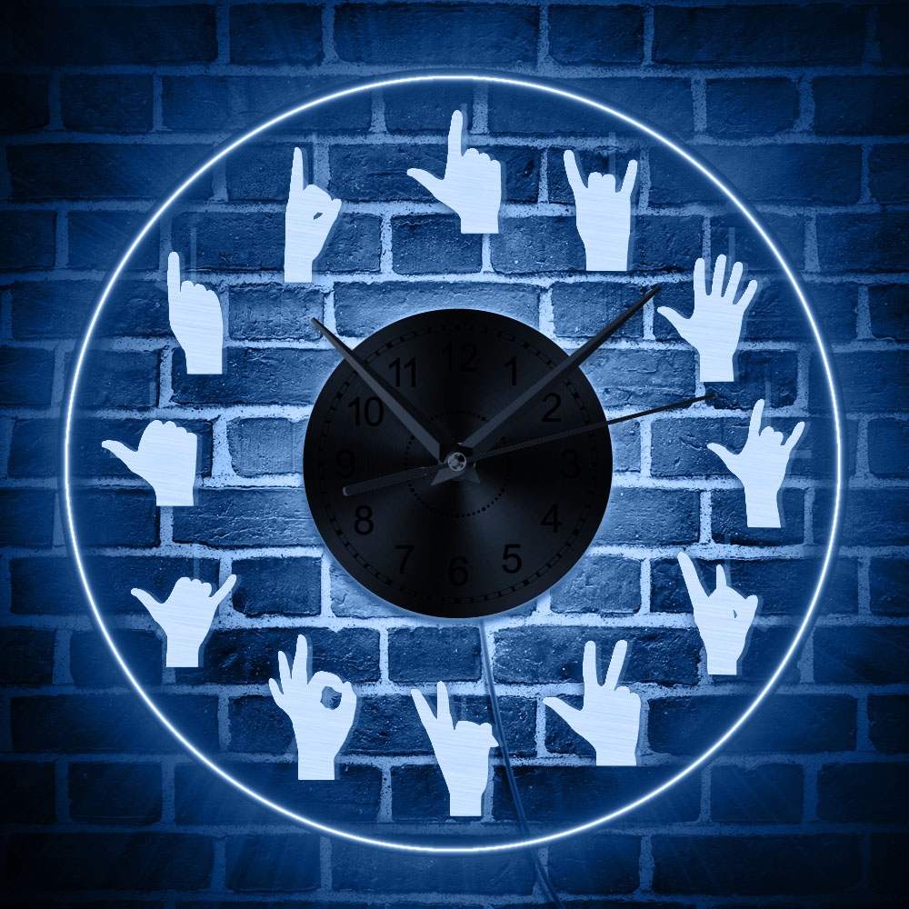 1Piece 12 Hand Showing Symbols Acrylic Decorative Wall Clock Time Clock Finger Signs Home Decor Round Wall Art Watch Timepiece