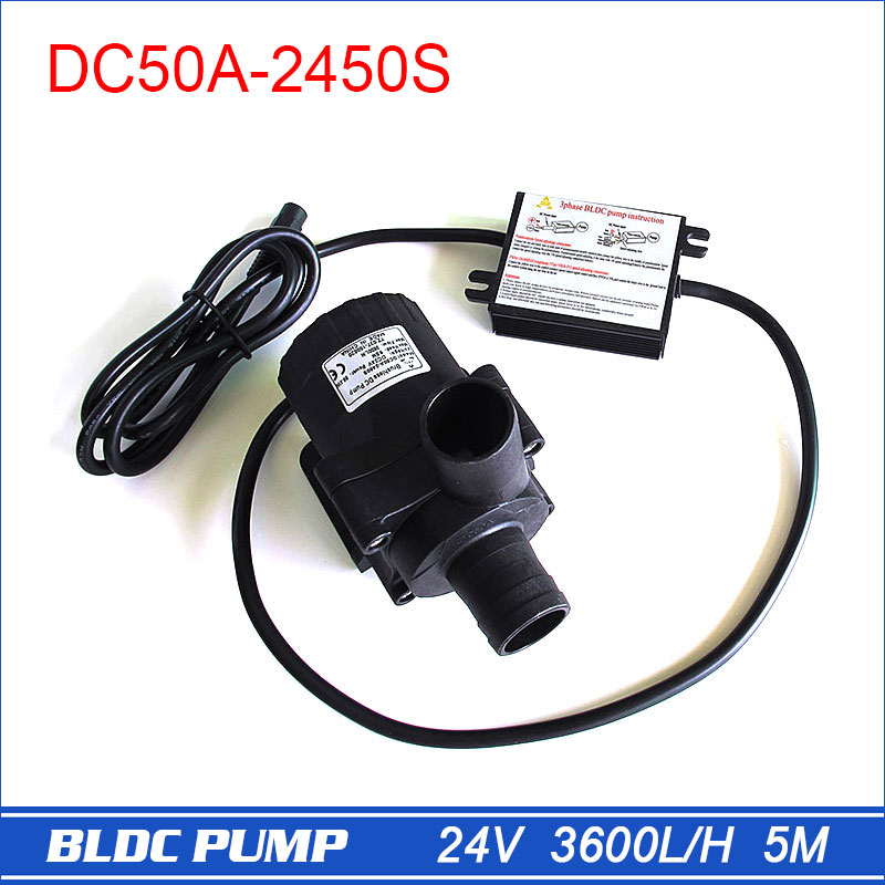 24V Inverter Water Pump, Brushless DC 3 phase Pump, Large Flow Rate 3600 LPH 5M, Swimming Pool Pumps, Solar Powered, Submersible