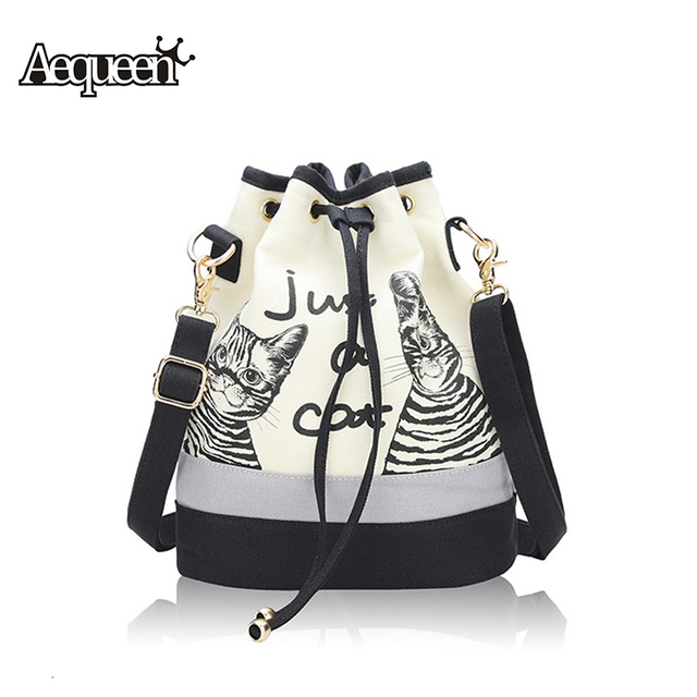 3bc102056884 New Fashion Retro Women Canvas Bucket Bags Cute Cat Print Shoulder Bag  Casual Drawstring crossbody bag