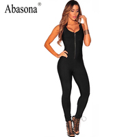 Abasona Sexy Club Jumpsuit Romper Women Fitness Slim Bodysuit Night Party Overalls Sleeveless Rompers Womens Bodycon