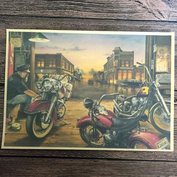 φφretro Rota 66 Boyama Motosiklet Baskılar Poster Vintage Sticker