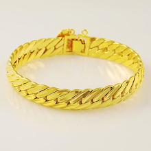 LJ&OMR 20CM 24K Gold Plating Snake Chain High Quality Fashion Luxury Men Bracelets Jewelry Party Anniversary Gift Wholesale 12MM