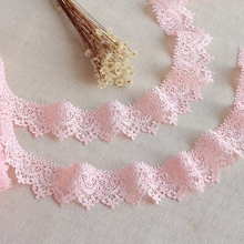 2Yard/Lot 1Yard Be Equal To 0.91 Meter Pink High Quality Lace Trim Delicate Floral Ribbon Venise Fabric For Costumes