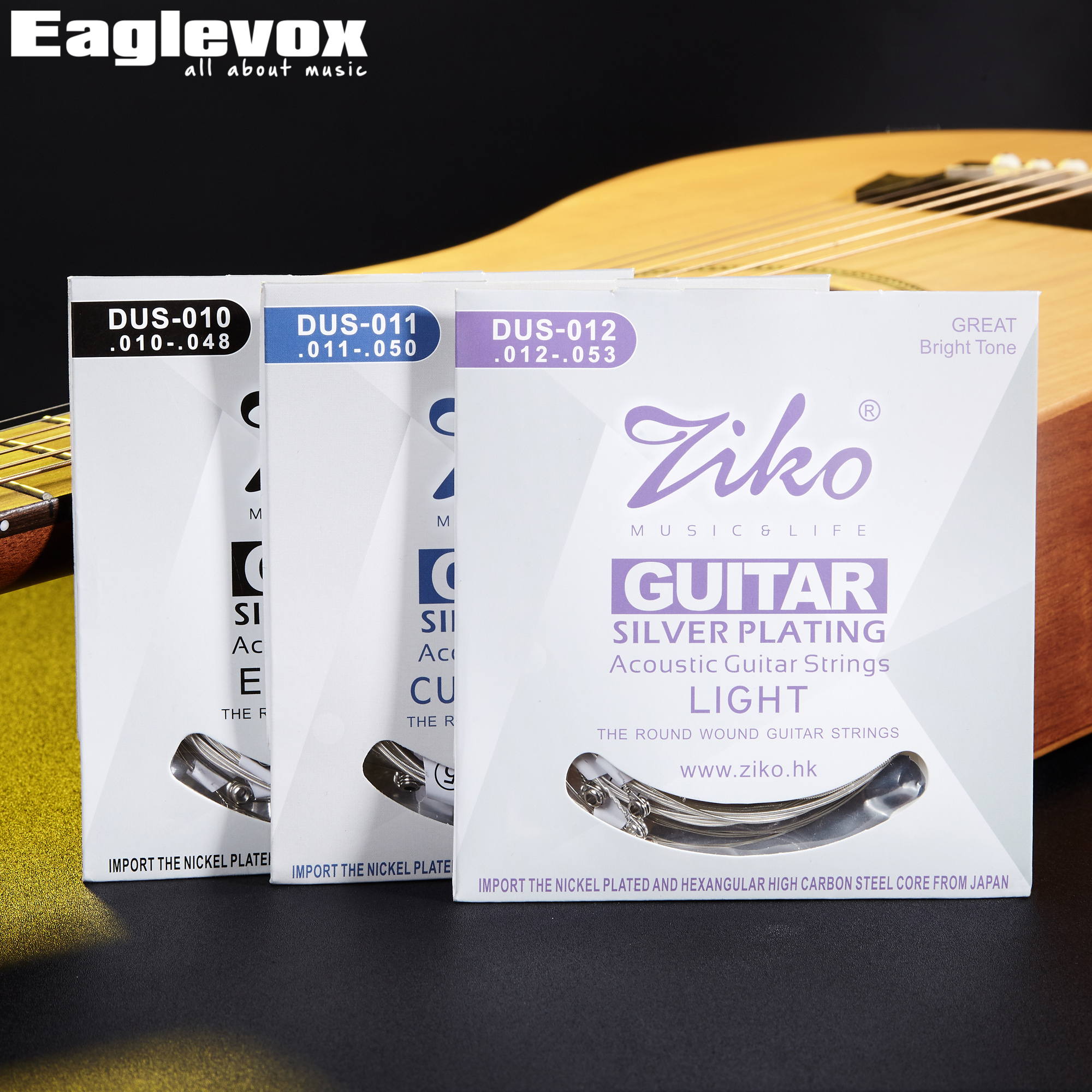 Ziko Acoustic Guitar Strings Hexagon High Carbon Steel Core Silver Planting Material Import from Japen 010 011 012 DUS ziko acoustic guitar strings set 010 011 012 silver plating acoustic wound guitar strings parts musical instruments 6pcs set
