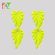 pair of stylish faux turquoise leaf alloy drop earrings for women F.J4Z New Women Earrings Imitation Coated Alloy Leaf Earrings Long Woman Statement Drop Earrings Dropshipping