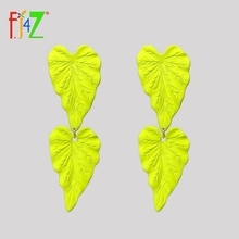 F.J4Z New Women Earrings Imitation Coated Alloy Leaf Long Woman Statement Drop Dropshipping