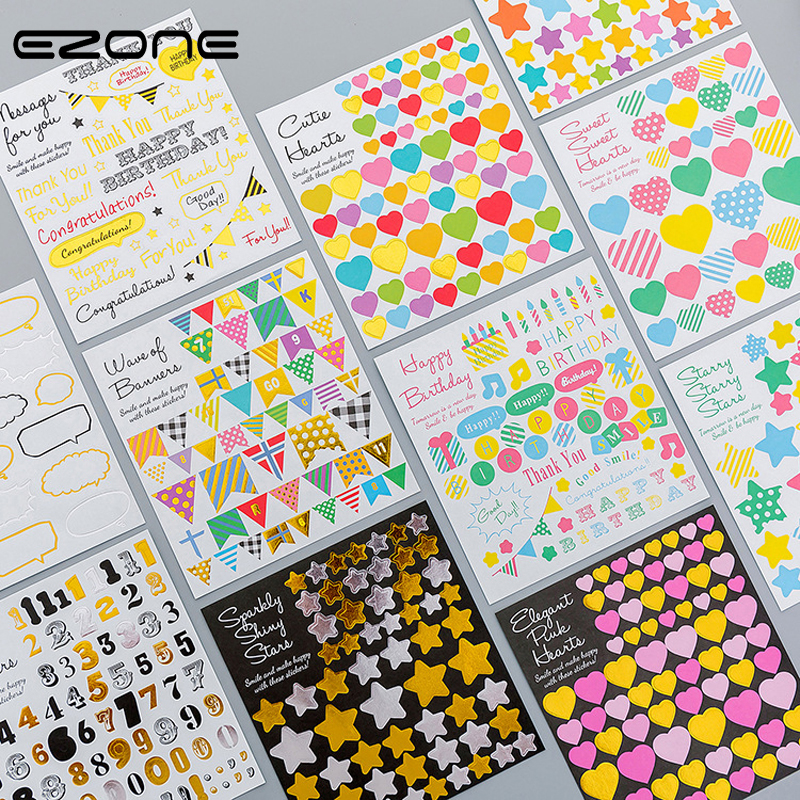 EZONE 3PCS Sticker Love Heart/Star/Flag/Letter Stickers For Children Scrapbook Album DIY Decoration Papers Students Stationery