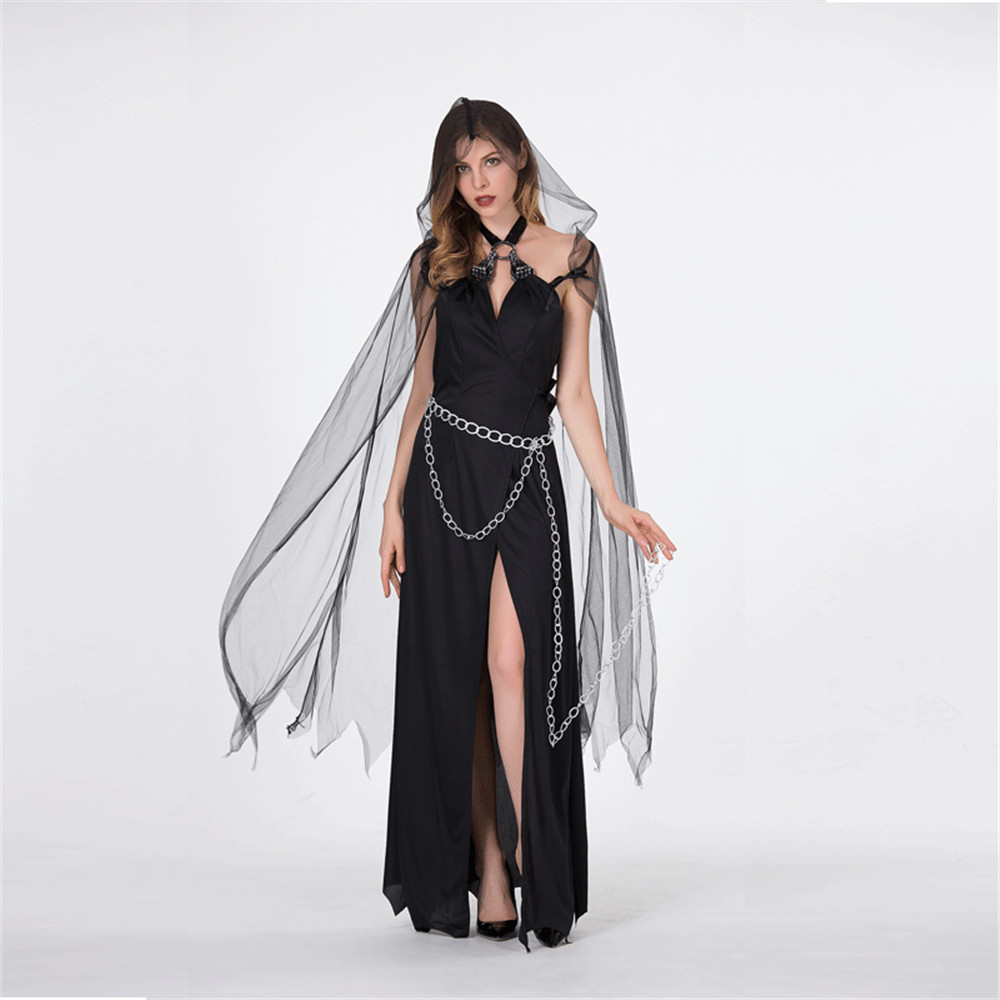 High Quality Scary Costume Ghost Bride <font><b>Halloween</b></font> Costume <font><b>Sexy</b></font> Lace <font><b>Women</b></font> Soft Dress Vampire <font><b>Witch</b></font> Cosplay Carnival Costume image