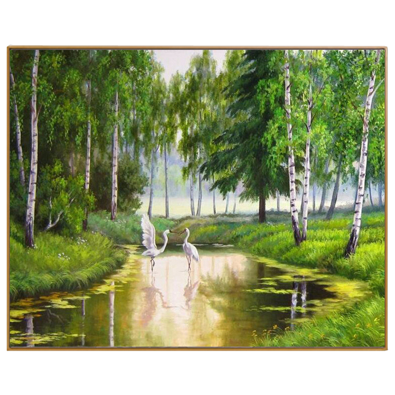 PHKV Diy Coloring By Numbers Forest Swan Summer Landscape Hand Painted Drawing On Canvas Picture By Numbers For Home Decorations