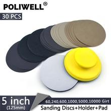 POLIWELL 5 inch Car Light Polishing Tools 30Pcs Waterproof Sanding Discs 125 mm +1 Hand Pad+1 Soft Sponge Interface Pads