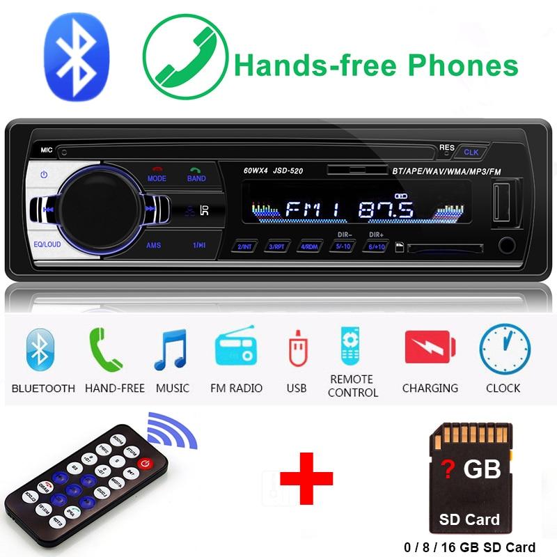 Autoradio 1 Din Auto Radio Bluetooth SD MP3 Player Coche Radios Estereo Poste Para Auto Audio Stereo Carro Samochodowe Automotivo