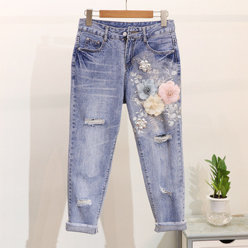 ALPHALMODA 3D Flower Applique Fashion Tshirt Slim Denim Pants Women Heavy-work Fine Quality Clothing for Summer Trendy Apparel 3
