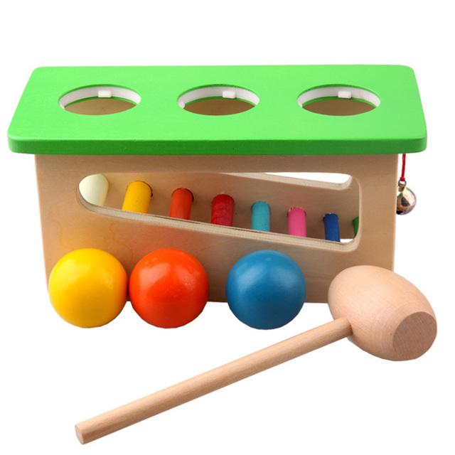 Los niños de Madera Del Bebé Golpe de la Bola de Sonido de Percusión Punch y Colocar Instrumentos Libras Golpeando y Banco de Rodillo de la Torre, 2,3, 4 años de edad