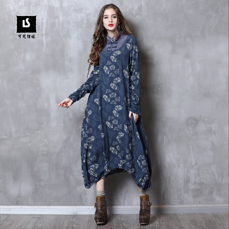 2018 A82098 Robe Bleu Mandarin Col Coton Denim Keer Femmes Robes Boho Asymétrique Vintage Feminina Longues Manches 45BRBnxg