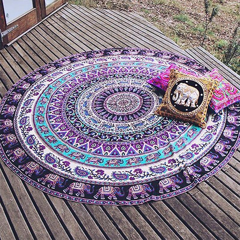 Throw Towel Yoga Mat Decorative Round Beach Towel Newest Indian Mandala Round Elephant Tapestry Wall Hanging Summer Beach feather printed round beach throw