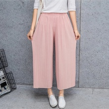 ZOGAA 2019 Fashion Women Summer Casual Chiffon Pleated Solid Color Wide Leg Pants Floor for Ladies