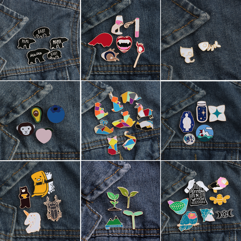 US $0.99 31% OFF 2~9Pcs/Set Plant Cactus Grass Girl Horse Mountain Bee Bird Monkey Cat Bear Penguin Fox Fruit Brooch Enamel Pin Badge Brooches-in Brooches from Jewelry & Accessories on Aliexpress.com   Alibaba Group