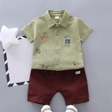 Fashion Boys Clothes Summer Short Sleeve Cartoon Print Tops T-shirt+Shorts Casual Outfits Sets 2PCS