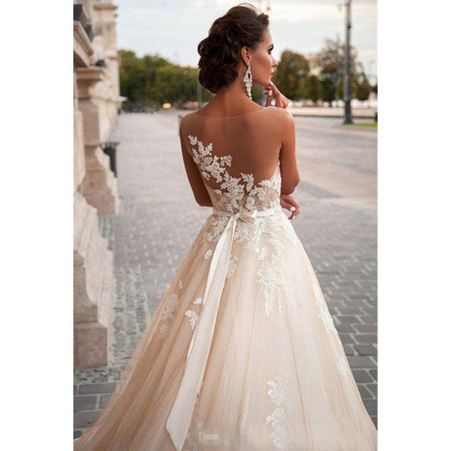Scoop Illusion Wedding Dresses Long Lace Applique Beading Waist Sweep Train Bridal Gown Dress with Detachable Beading Sash 2