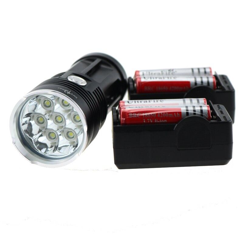 ФОТО Skyray 10000 Lumen 7xCREE XM-L T6 LED Flashlight Torch 7T6 Tactical Led Bike Lamp Headlight + 4x 18650 Battery + 2x Charger