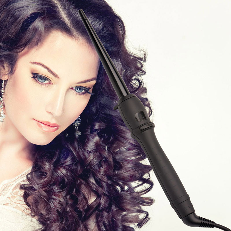 9-25mm Wide Cone Hair Curler 110-240V Hair Styling Tool Electric  LCD Display Curling Wand Hair Iron Roller Hair Styler Curls 5 ckeyin 9 31mm ceramic curling iron hair waver wave machine magic spiral hair curler roller curling wand hair styler styling tool