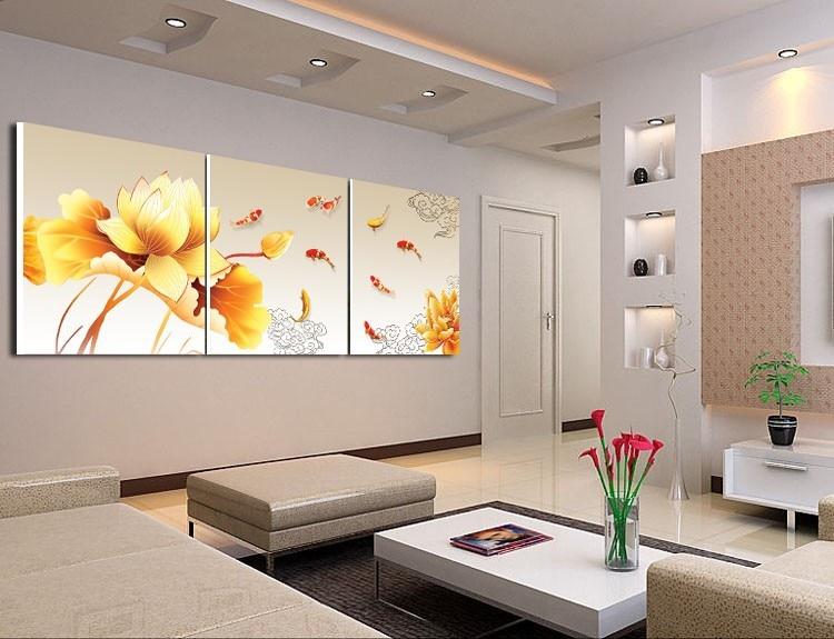 Helt nye 2017 wandmalerei orange blumen koi fisch stillleben malerei 3 Pcs RG-98