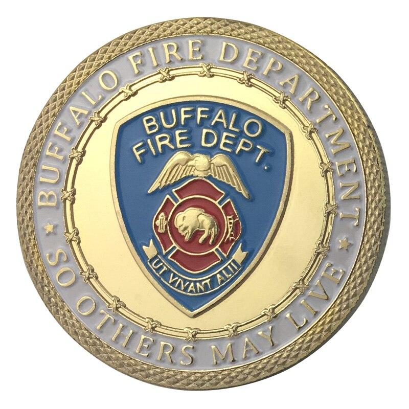Вся поставка золотое покрытие город буйвола пожарный отдел наградная монета/медаль 1336