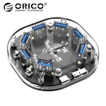 ORICO высокая скорость 5 Гбит/с 7 портов USB 3,0 концентратор USB порт USB концентратор портативный концентратор USB разветвитель для Apple Macbook Air ноутбу...