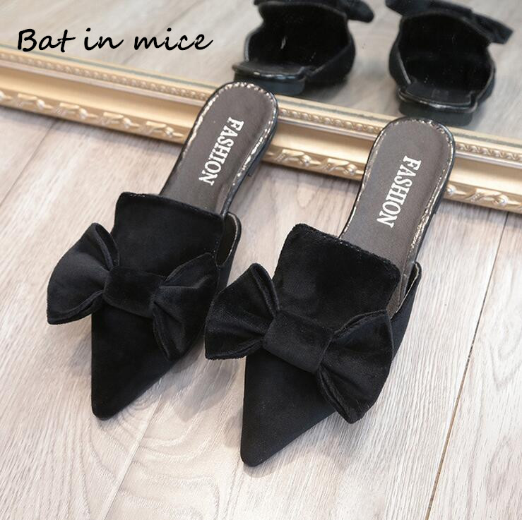 casual women shoes casual Slip-On flats women shoes New Flock Pointed Toe Butterfly-knot Ballet dancing shoes Mujer zapatos W138 new designer shoes women luxury 2018 butterfly knot flat shoes women fur mules pointed toe flats slip on shoes for women loafers