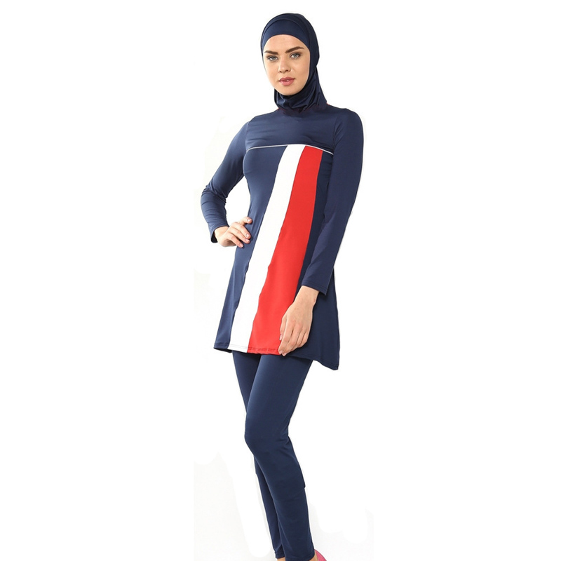 Cheap Girls Muslim Swimwear Bathing Suit Cover Ups Conservative Islamic Swimsuit Plus Size Beach Wear