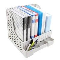 Behogar متعددة الوظائف شبكة البلاستيك ملف حامل المنظم مع 4 مقصورات حامل قلم لمجلة مستند ورقي المنزل مكتب