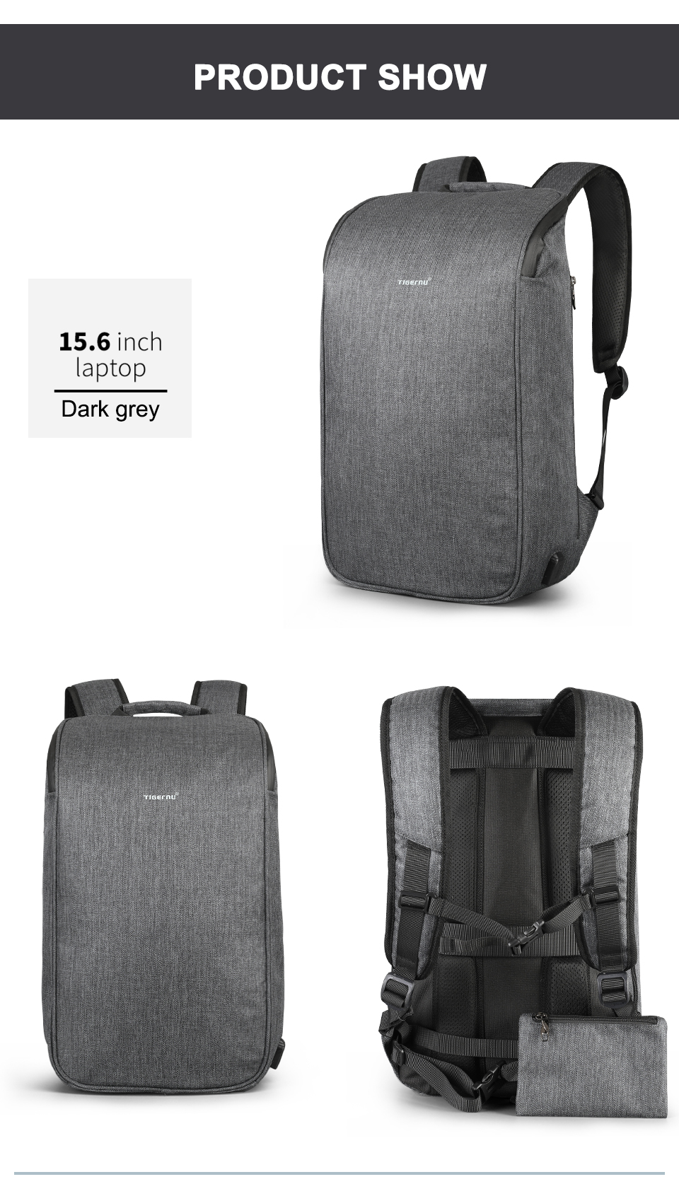 Male Travel Backpack fashion, unique design and trendy grey color