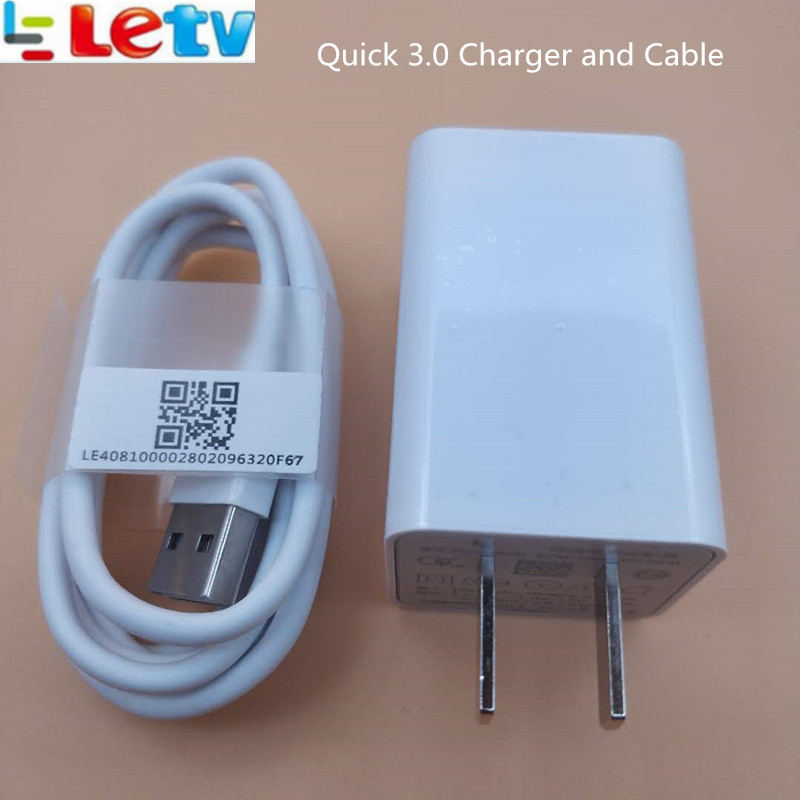 Letv leeco le s3 x626 Quick fast <font><b>Charger</b></font> Letv leeco le Pro 3 /max 2 /X522/le2 EU/US QC 3.0 charge usb wall adapter <font><b>Type</b></font> <font><b>C</b></font> cable image