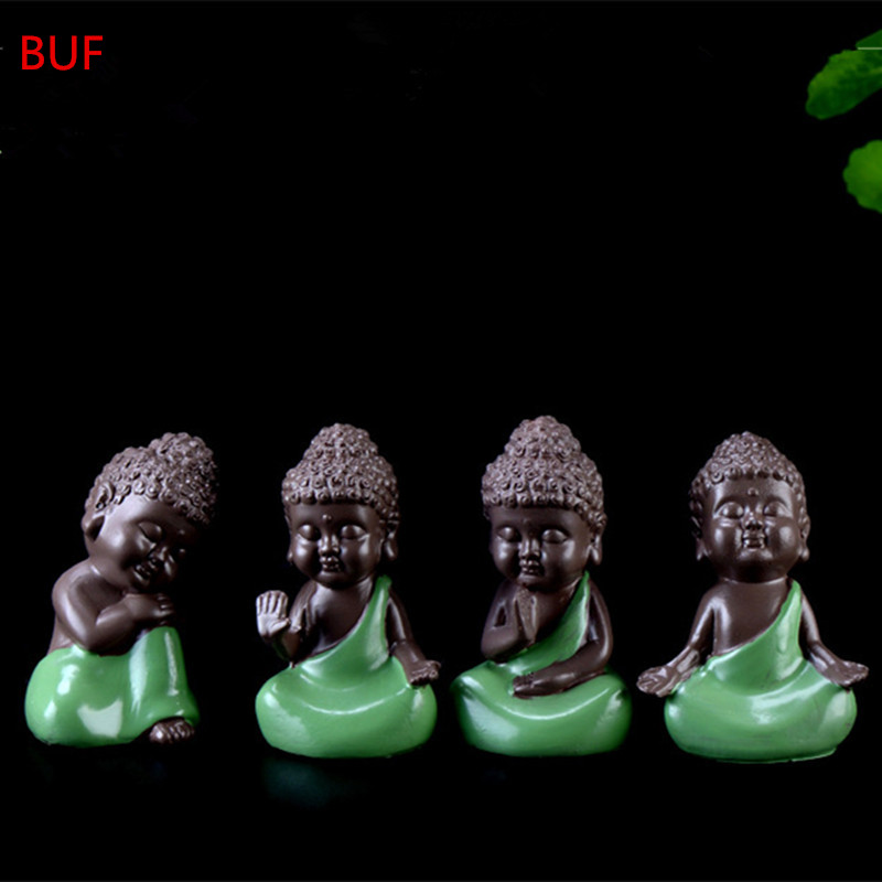 4Pcs/Set Small Buddha Statue Monk Figurine Tathagata India Yoga Mandala Statue Sculptures Home Decoration Accessories Ornaments