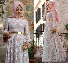 Pink Lace Muslim Evening Dress Floor Length Full Sleeves Sash Long Evening Dresses Hijab A Line Vestido De Festa Elegant