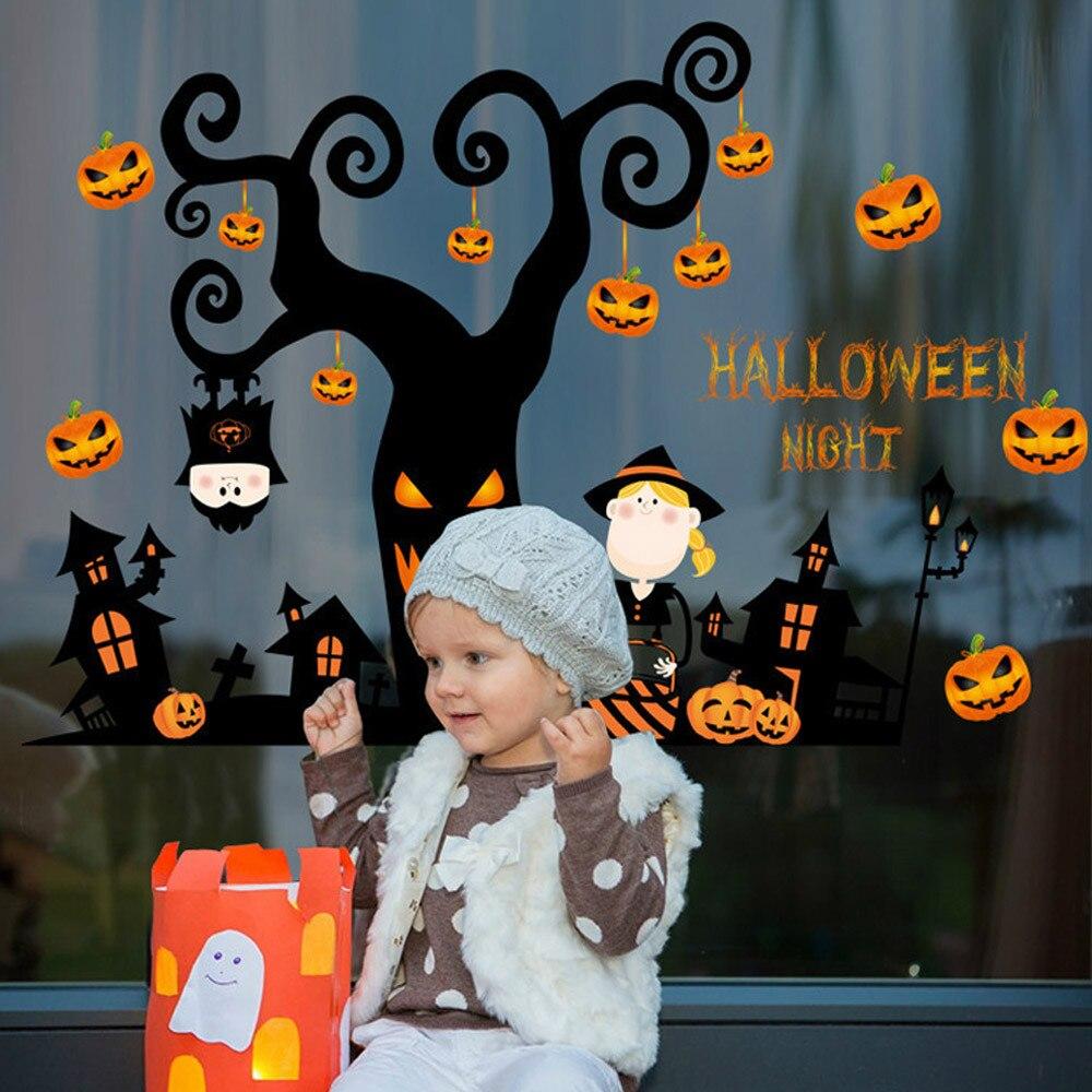 Halloween Fotowand.Us 5 12 23 Off Happy Halloween Pompoen Muursticker Venster Home Decoration Decal Decor Halloween Heks Muursticker Fotowand Muurschildering Behang In