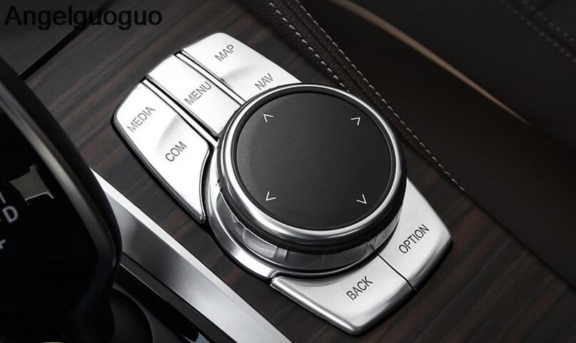 Angelguogugo Car Interior Multimedia Idrive Buttons Knob Cover Sticker  Frame For BMW 5 Series G30 G38 2018