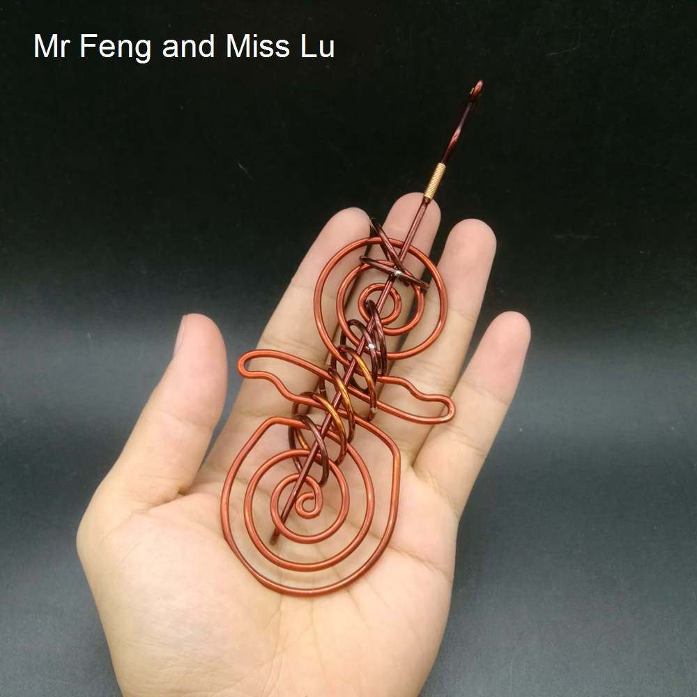 Double Spiral Shape Hand Made Red Copper Ring Puzzle 3D Intellectual Game Brain Teaser Toy